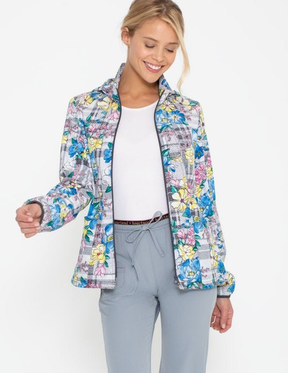 Plaid About Me Babe Zip Front Warm-Up Jacket