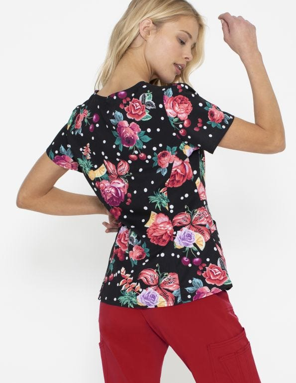 Floral-Ever Fruity V-Neck Peplum Top