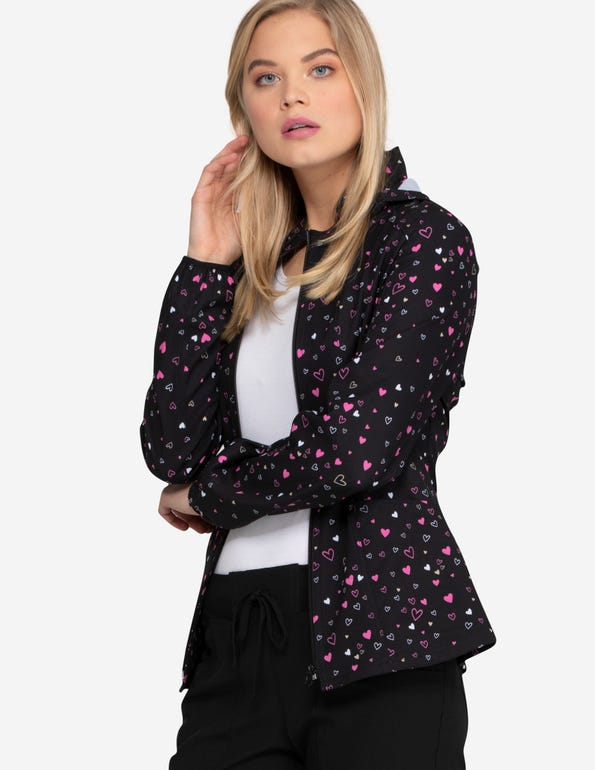 Heart of Hearts Zip Front Warm-Up Jacket