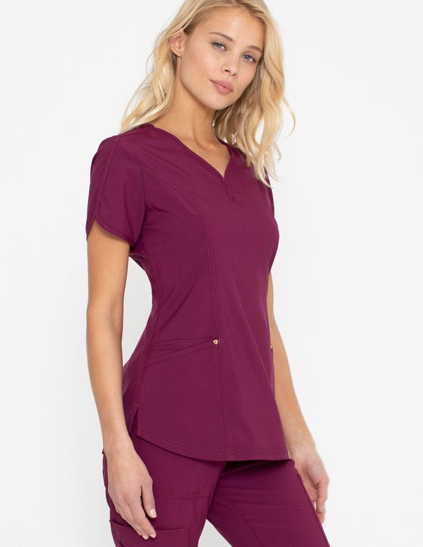 Curved Sleeves V-Neck Top