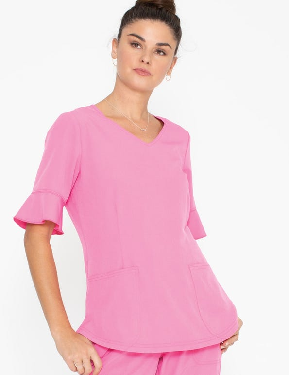 V-Neck Ruffled Sleeve Top