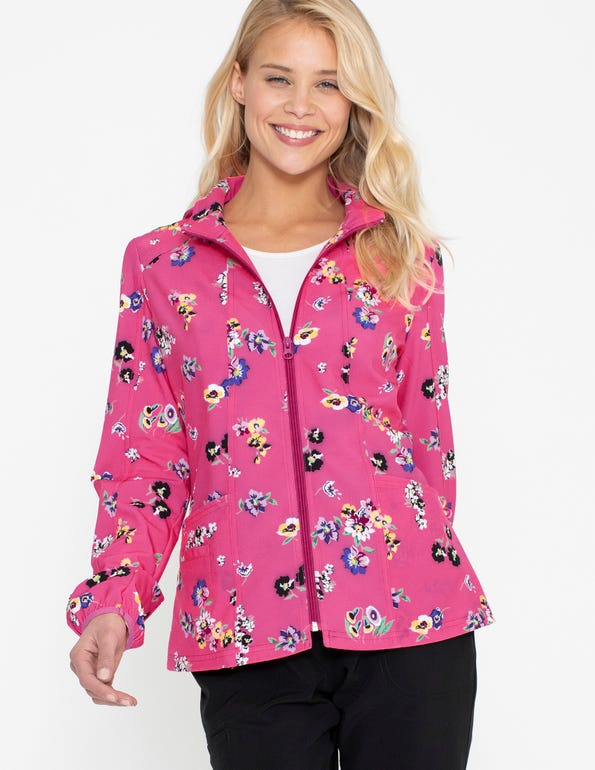 Flowering Fields Zip Front Warm-Up Jacket