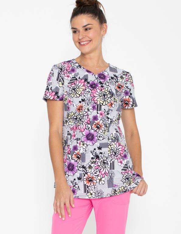 Patterns And Posies Mock Wrap Top