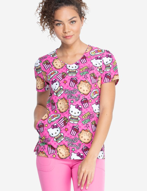 Hello Kitty Kawaii Burger V-Neck Top